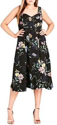 City Chic Sketch Love Floral A-Line Midi Dress