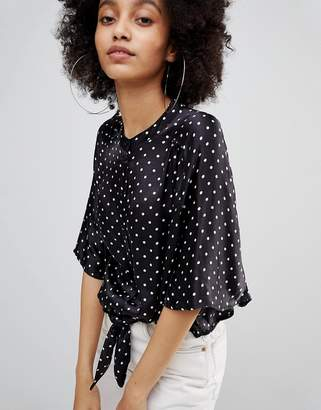 Bershka Crop Satin Polka Dot Blouse