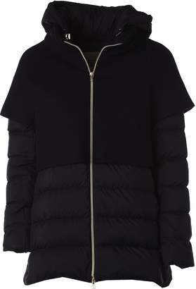 Herno Hooded Padded Dark Blue Jacket With Wool Details