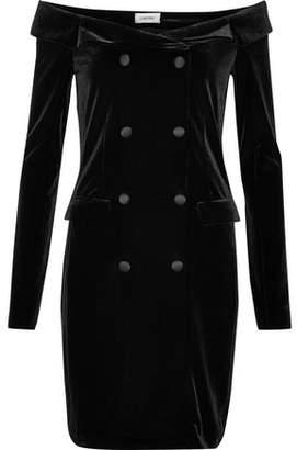 L'Agence Romilly Off-The-Shoulder Button-Embellished Velvet Mini Dress