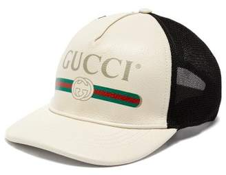 Gucci Vintage Logo Leather And Mesh Cap - Mens - White Black