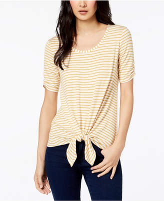 Maison Jules Striped Tie-Front Top, Created for Macy's