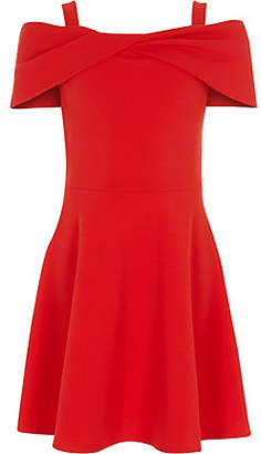 River Island Girls red scuba bow bardot skater dress