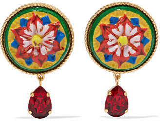 Dolce & Gabbana - Gold-tone, Resin And Crystal Clip Earrings - Red $395 thestylecure.com