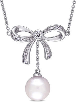 Laura Ashley FINE JEWELRY Womens Diamond Accent Cultured Freshwater Pearl 10K Gold Bow Pendant Necklace
