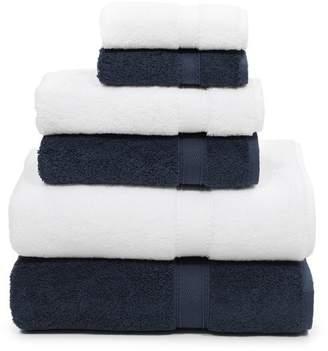 Linum HOME TEXTILES Sinemis Terry 6-Piece Towel Set - Navy\u002FWhite