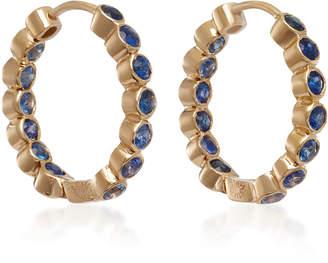 She Bee 14K Gold Sapphire Hoop Earrings