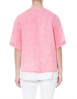 Jump Short Sleeve Double Layer Linen Top