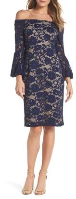Eliza J Bubble Bell Sleeve Off the Shoulder Lace Sheath Dress