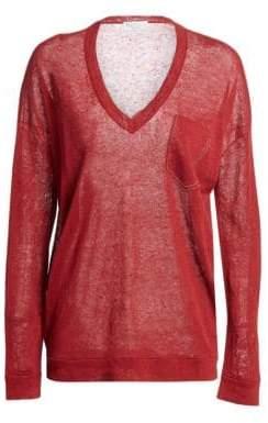 Brunello Cucinelli Linen-Blend V-Neck Pullover