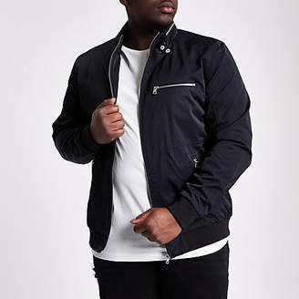 River Island Big and Tall black racer neck jacket