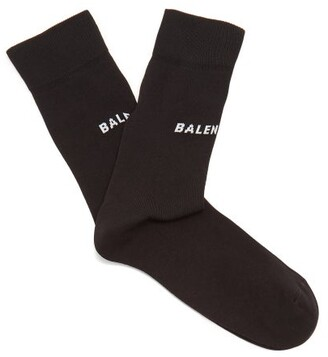 Balenciaga Logo Intarsia Cotton Blend Socks - Womens - Black