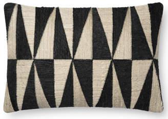 Lulu & Georgia Justina Blakeney Triangles Lumbar Pillow, Ivory and Black