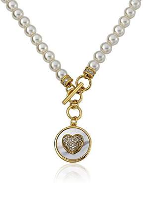 Little Miss Twin Stars Girls' Flower 14k Gold-Plated Pendant Necklace