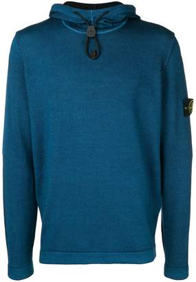 Stone Island logo patch hooded jumper