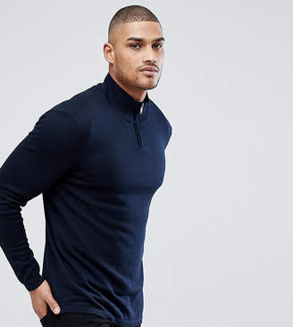 Asos DESIGN Tall turtleneck sweater with zip in navy