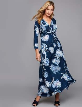 Pietro Brunelli Pea Collection Madonna Print Maternity and Nursing Maxi Dress
