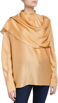 REJINA PYO Ira Draped Satin Long-Sleeve Scarf Blouse