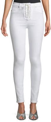 Hudson Bullocks High-Rise Lace-Up Skinny Jeans