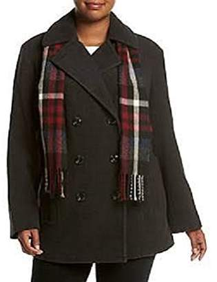 London Fog Double Breasted Notch Collar Coat With Scarf