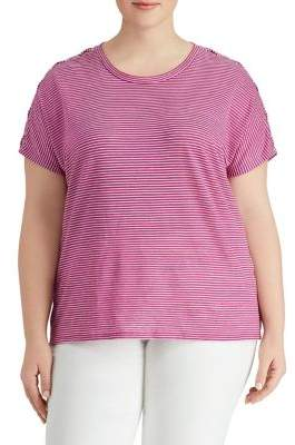 Lauren Ralph Lauren Plus Lace-Up-Sleeve Tee
