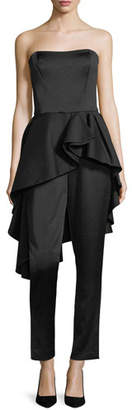 Halston Strapless Satin Straight-Leg Jumpsuit w/ Flounce Skirt