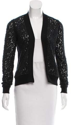 Chloé Lace-Accented Wool Cardigan