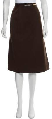 Celine Wool Knee-Length Skirt Brown Wool Knee-Length Skirt