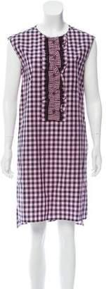Prada Ruffle-Trimmed Gingham Dress