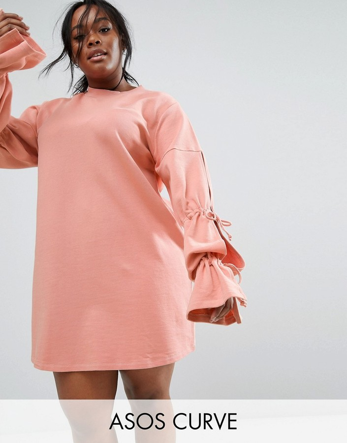 Asos Sweat Dress with Gathered Tie Sleeve