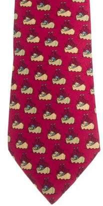 Hermes Boat Print Silk Tie