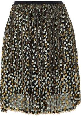 Elie Tahari Chain-Trimmed Fringed Metallic Fil Coupé Organza Mini Skirt