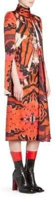 Alexander McQueen Abstract Tie Neck Midi Dress