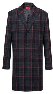 Hugo Boss Glen check slim-fit coat in a wool 42R Charcoal