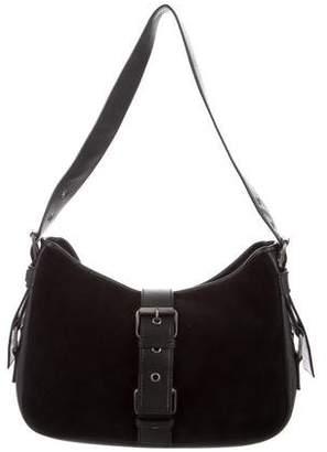 Saint Laurent Leather-Trimmed Suede Bag