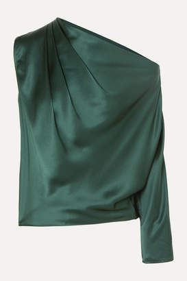 Mason by Michelle Mason One-sleeve Draped Silk-charmeuse Top - Forest green