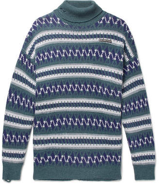 Balenciaga Oversized Fair Isle Wool-Blend Rollneck Sweater - Blue