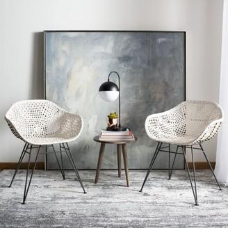 Safavieh Jadis Modern Glam Leather Woven Dining Chair, Set of 2