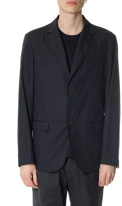 Salvatore Ferragamo Single Breasted Navy Cotton Jacket