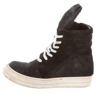 Rick Owens Blistered Leather Geobasket Sneakers