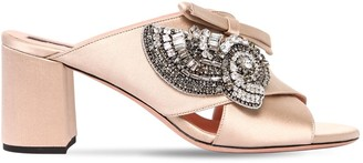 Rochas 60mm Crystals Embellished Satin Mules