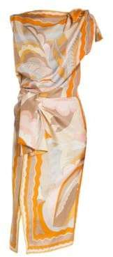 Emilio Pucci Silk Shoulder& Waist Tie Print Dress