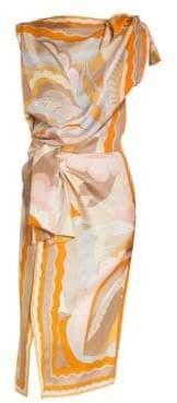 Emilio Pucci Women's Silk Shoulder& Waist Tie Print Dress - Cipria Acapulco - Size 38 (4)