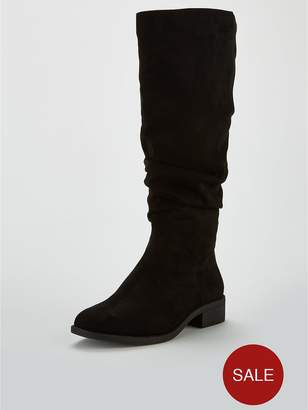 a8cfcf8cf79 Very Wide Fit Isobel Flat Slouch Knee Boot - Black