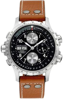 Hamilton Khaki Aviation X-Wind Automatic Chronograph Leather Strap Watch, 44mm