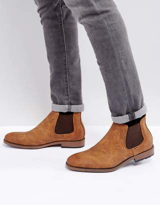 New Look Faux Leather Chelsea Boot With In Tan