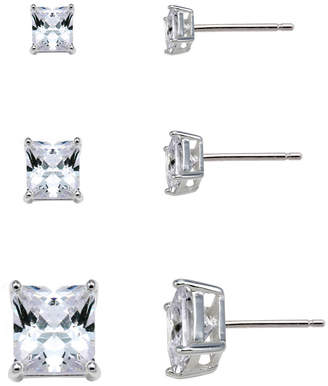 JCPenney FINE JEWELRY Sterling Silver Square Cubic Zirconia Earring Set