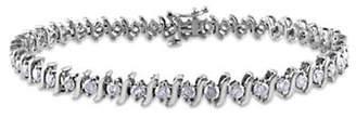 CONCERTO 14K White Gold 3 Total Carat Weight Diamond S-Link Tennis Bracelet