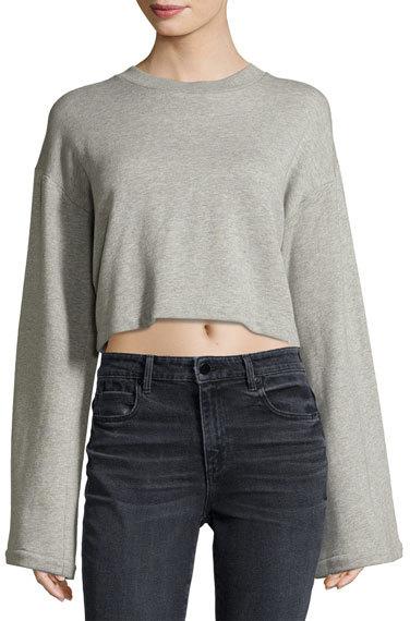 T by Alexander Wang Tie-Back Long-Sleeve Sweatshirt, Gray
