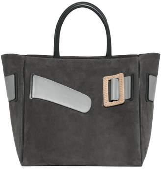 Boyy Large Buckle Suede & Leather Tote Bag